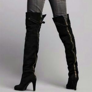 Kelsi Dagger Ebony Suede Over the Knee Boots Sz 10